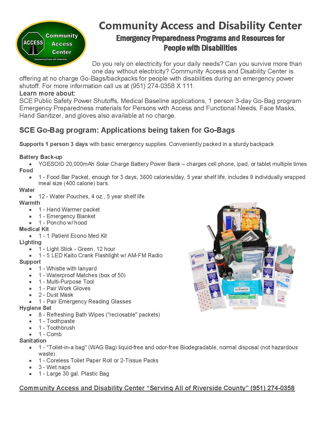 Community Access/Disability Center SCE Medical Baseline Go-Bag program 2020-page-001