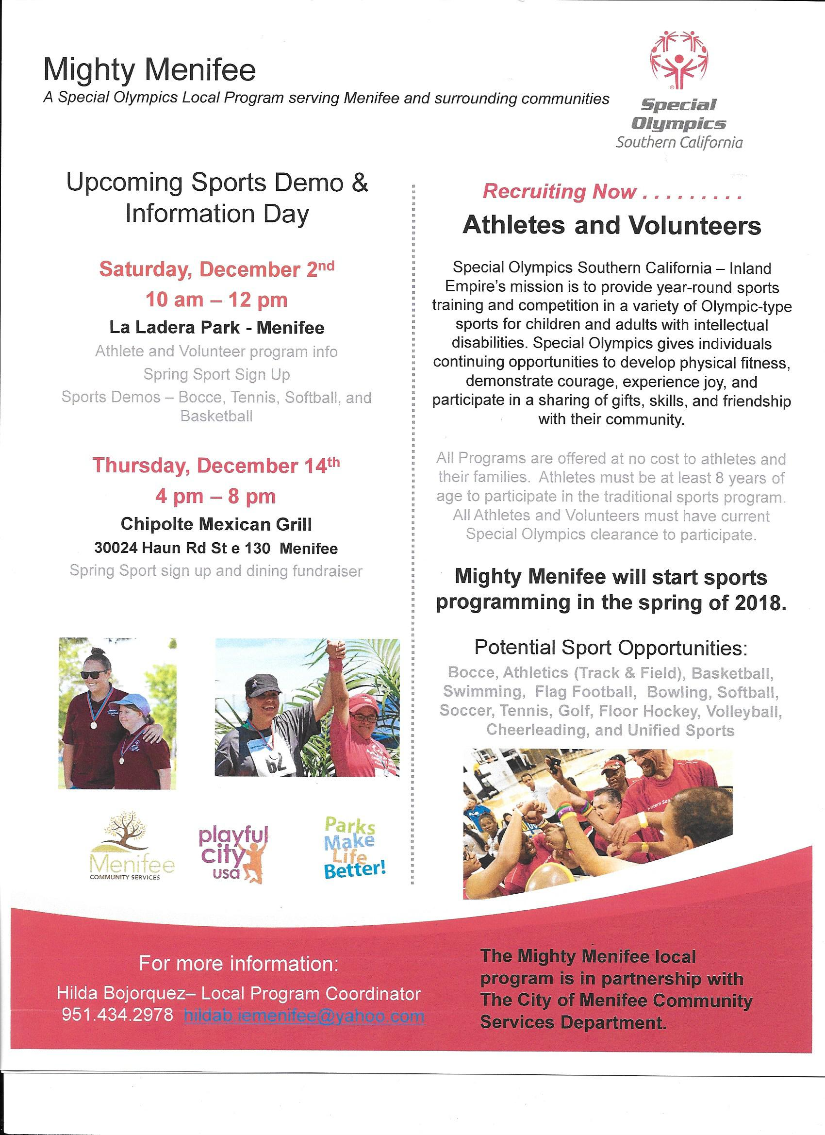 Mighty Menifee Upcoming Sports Demo  12-2-17