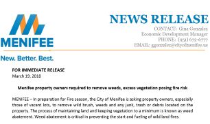 Press Release - Weed Abatement - Thumbnail