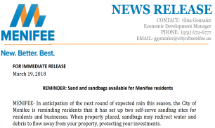 Press Release - Sand Bags - Thumbnail