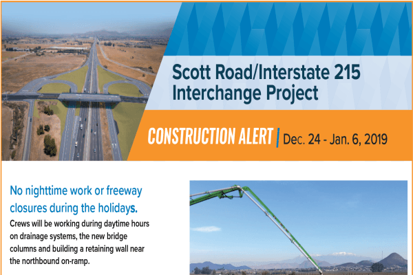 Scott Road Interchange 215 Construction Alert - Dec 10-16
