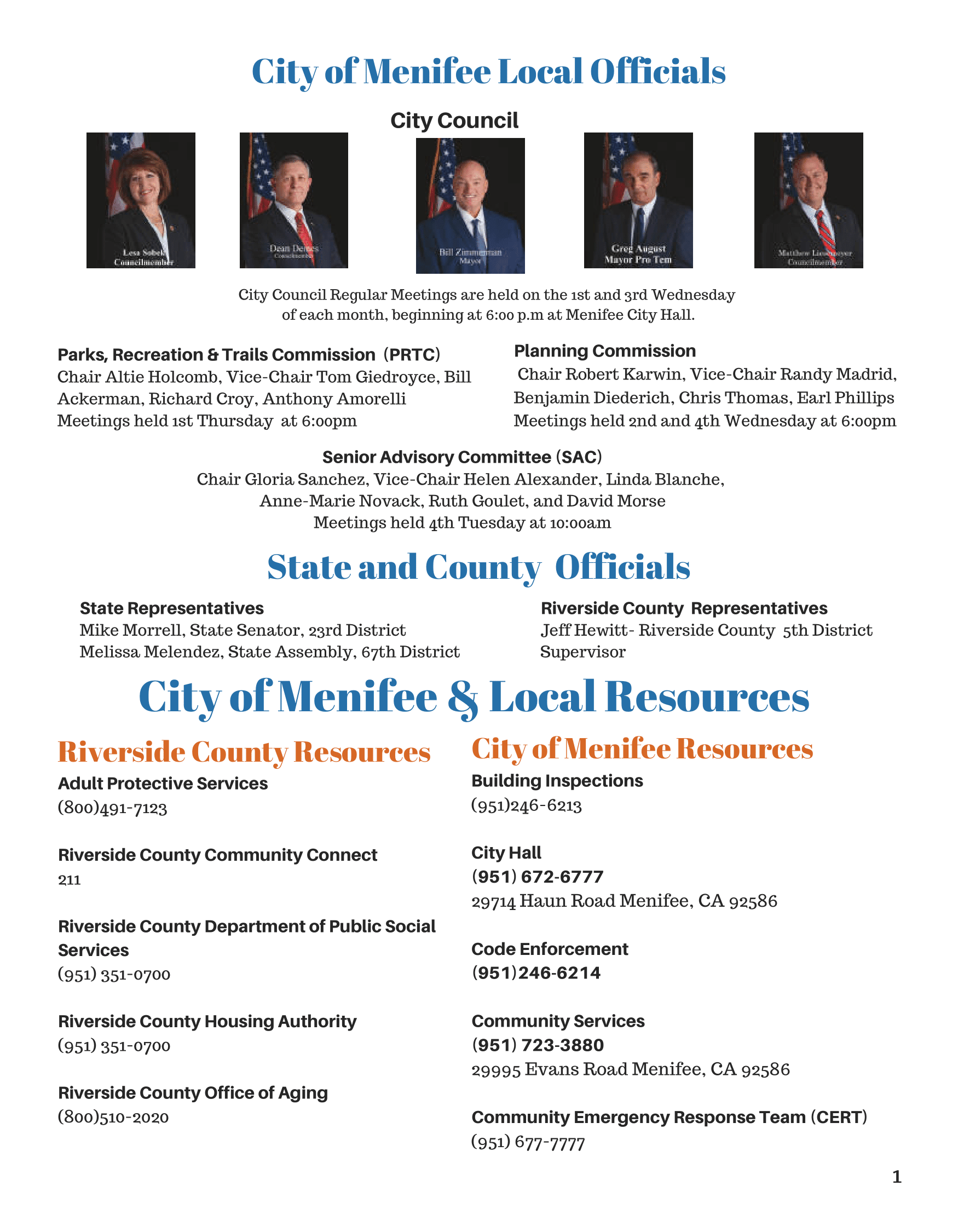 Menifee Senior Resource Directory 2020-Page 2 (City/State Officials & Local Resources)