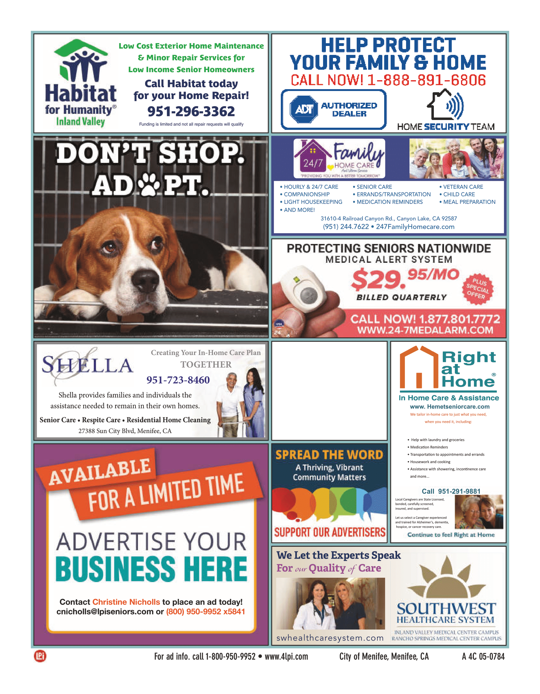 Menifee Senior Resource Directory 2020-Page 8 (Advertisements Page Continued)