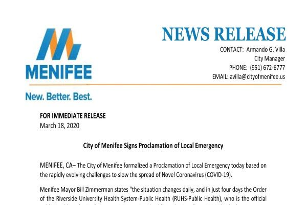 Press Release - Local Emergency