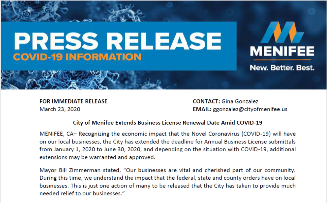 Business License Press Release Image